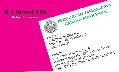 Kartu Nama Perguruan Tamansiswa, matraman, jakarta pusat