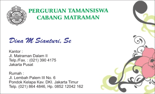 Kartu Nama Taman Siswa, matraman, jakarta pusat