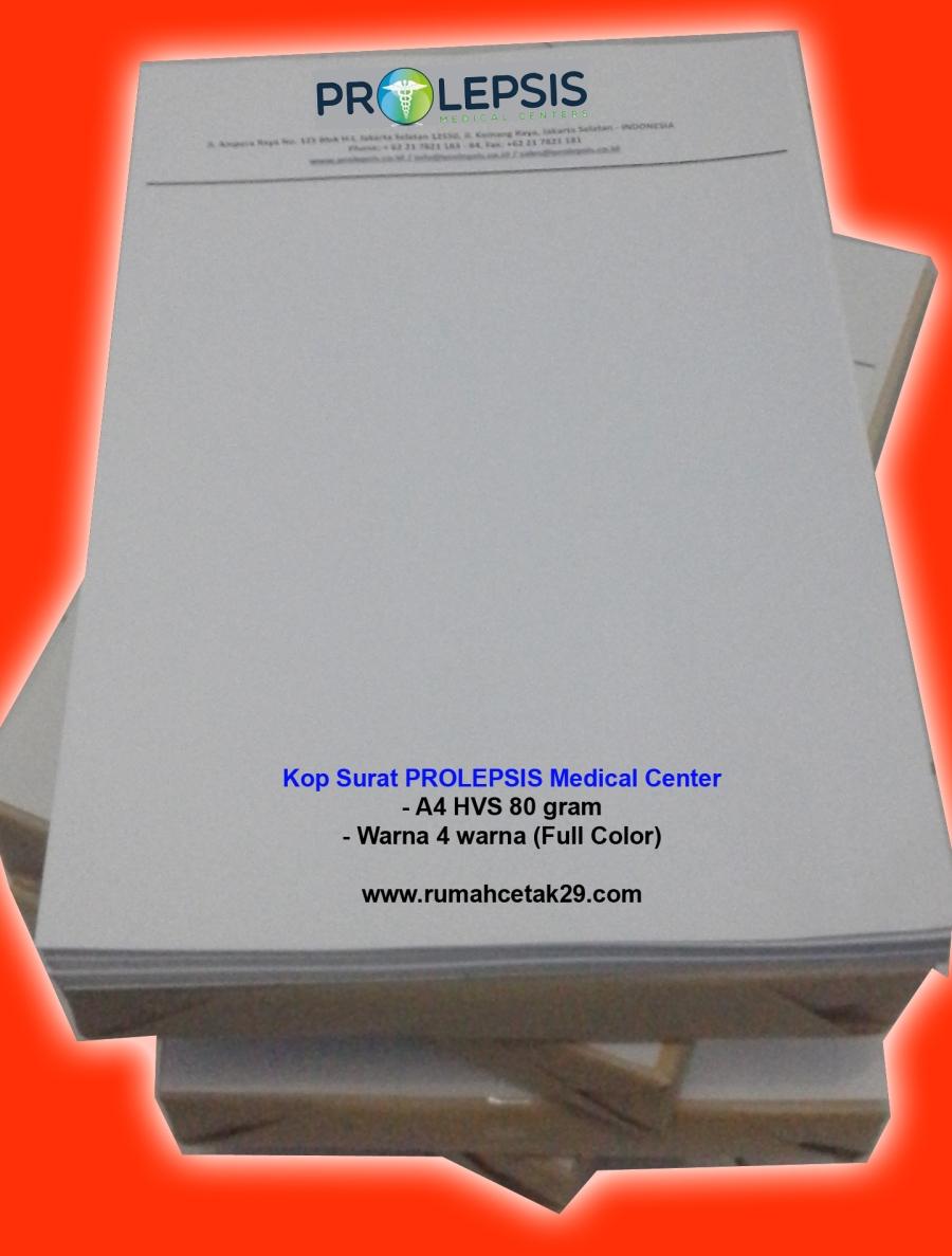 kop surat PROLEPSIS medical center 4 warna (sparasi), murah, cepat, kwalitas tajam, cetak kop ps. minggu, kp. jawa, kop surat jakarta